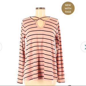 Umgee Pink Ribbed Striped Blouse Keyhole Neckline
